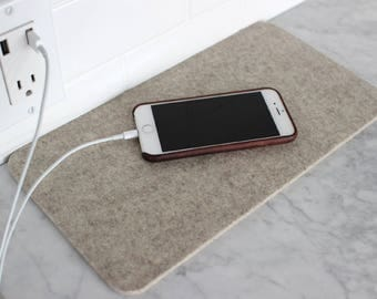 Felt Landing Pad in Oatmeal - 7x13 inches - 100% Merino Wool  - 5mm Thick - German-milled - Rich, Lightfast Colors - Eco-Friendly