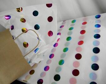 Rainbow Tissue Paper | Multi-Color Polka Dot Print on White Tissue | Rainbow Birthday party | Gift Wrap Tissue | Rainbow Wedding Supply