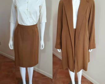 Rare 1950's Vintage Vicuna Wool Coat and Skirt • Classic Luxury 50s Swing Coat in Camel