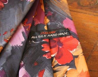 Vintage Italian All Silk Hand Made Necktie, Floral Necktie, Retro Flare