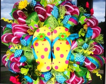 Whimsical Flip Flop Wreath