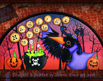 """E PATTERN - """"Magical Brew"""" - Halloween Crow Brewing Up Some Fun! Designed & Painted by Sharon Bond"""