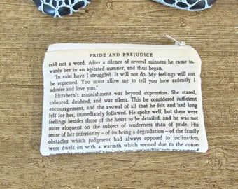 Jane Austen Coin Purse. Pride and Prejudice Bag Quote. In Vain Have I Struggled Bridal Wedding. Bridesmaid Gift Love And Admire You