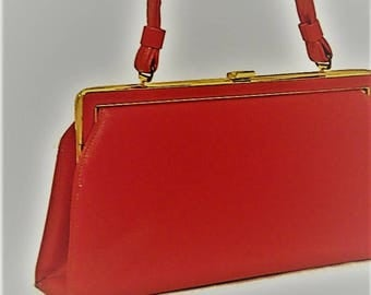 60s Red Purse, Red Faux Leather Purse, Vegan Friendly Bag, 1960s Red Pocketbook, Red Kelly Bag, Lipstick Red Purse, Bright Red Handbag