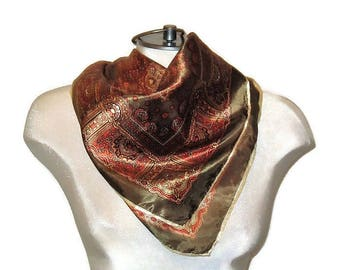 60s Print Scarf, Olive Copper Scarf, Square Scarf, Square Head Scarf, 1960s Neck Scarf, Square Neckerchief, Paisley Scarf, Satiny Scarf