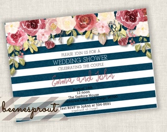 Wedding Shower Couple Shower Navy Blue Stripe and Floral Invitation