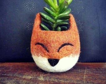 Summer 15% Off! Succulent planter, Animal planter, Fox planter, cactus pot, kitsune vase, mini planter, Fox lover gift, gift for her