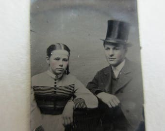 antique miniature gem tintype photo - 1800s, couple, man with top hat
