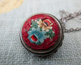 "vintage Italian mosaic necklace - floral, venetian, round, 17"" chain"