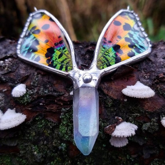 Crystal Jewelry / Sunset Moth / Real Butterfly / Crystal Necklace / Butterfly Jewelry / Quartz