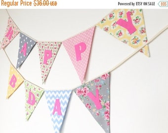 ON SALE Birthday Fabric Banners, Happy Birthday Bunting, Shabby Chic, Custom, Pink Alphabets
