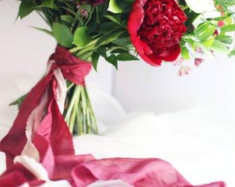 Red Wine Habotai Silk Ribbon