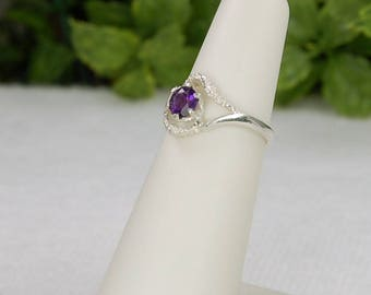 Amethyst Ring, Size 5, Sterling Silver, February Birthstone, Purple Amethyst, Natural Amethyst