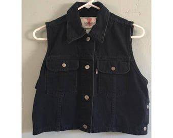 90's Levi's Black Denim Vest