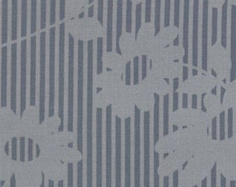 Urban Chiks Fabric, Hullabaloo by Urban Chiks for Moda Fabrics, 32401-18 Gray Flower Stripes