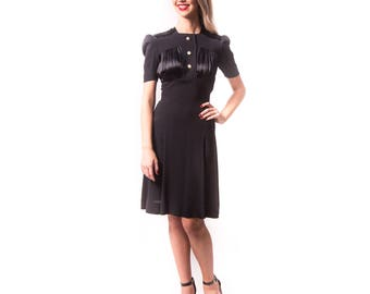 1930's Rayon and Satin Black Dress/ 30s 40s Black Party Dress