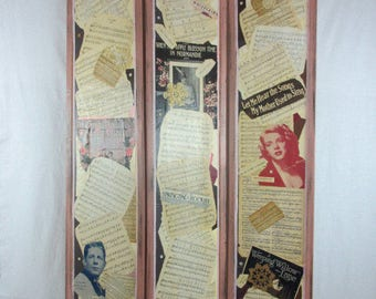 Vintage Handmade Folding Dressing Screen Room Divider Antique Music Lace