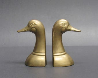 Vintage Brass Goose Head Bookends (E9790)