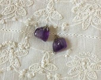 Bohemian Vintage shabby beach Victorian amethyst charms earrings nuggets
