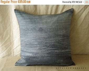 """ON SALE Sea inspired linen Square throw Pillowcase. 18""""x 18"""" Printed by original abstract painting. sky blue .. Brightness of blue /  FRAGME"""