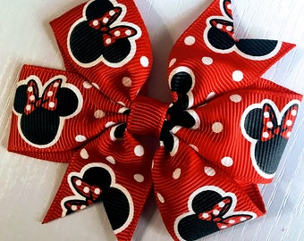 """Minnie Mouse Inspired ribbon Red black hairbows polka dots Hair Bow clip Grossgrain  Boutique Handmade 3"""" 18m  24M 2T 3 t 4 t 5 6 7 8"""