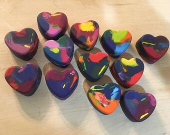 12 Multicolored Heart Crayons