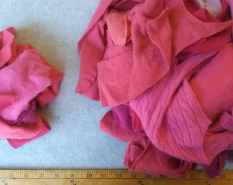 Cashmere Recycled Remnants - Cherry Red through Hot Pink for DIY Crafts and Projects - 16 oz. Bundle