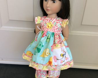 """Vintage hankie, birds, 4 pc outfit, 16"""" doll clothes, A Girl for All time, pockets,  ooak"""