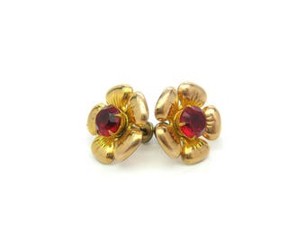 Gold Fill Flower Earrings. Cherry Red Rhinestone Centers. Engraved, Repousse Gold Filled Petals, Screw Backs. Vintage 1950s Fashion Jewelry
