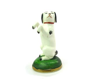 Staffordshire Begging Terrier Dog Figure.  Antique Style White, Black Ears Spots Red Collar Green Base. Vintage 1930s English Pottery Decor