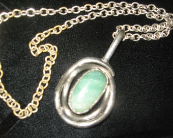 """Green Vintage 40s Old Pawn Sterling Silver Necklace 16"""" total 99.2 grams with polished green turquoise"""