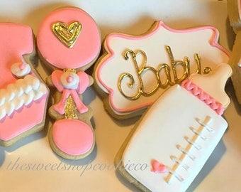 Pretty Pink Baby shower cookies 2 dozen