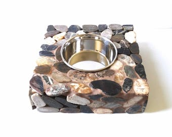 Stone Single Bowl Elevated Dog Feeder, dog water station, raised dog bowl, elegant doggie diner, medium to large dog bowl