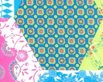 1 Yard Dance With Me KIMBERLY Cheater Cloth Faux Quilt Block Paganelli JP28 Teal Flowers Free Spirit Hexagon Floral Feminine Fabric