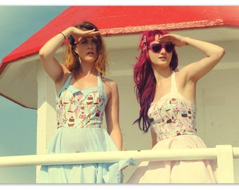 Ice Cream Dress - Pink or blue - all sizes)