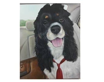 Large custom pet portrait painting on canvas dog cat art 16x20 cocker spaniel