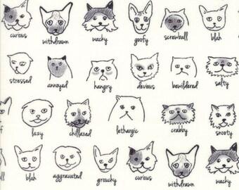 Meow or Never Catatude in Milk,  Erin Michael,  100% Cotton, Moda Fabrics, 26114 11