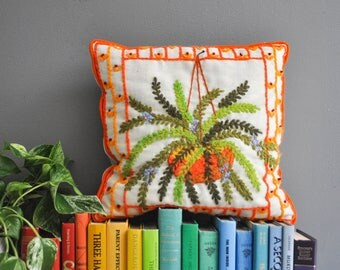 Vintage Hanging Fern Needlepoint Pillow - Decorative Needlepoint Pillow