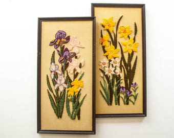 Pair of Vintage Crewel Embroidered Floral Wall Hangings - Daffodils and Irises