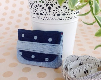 Eco friendly Card holder small wallet  business card holder recycled fabrics credit cards health cards fidelity cards polka dots denim