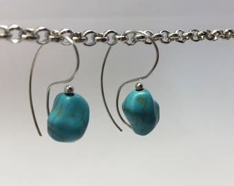 Turquoise Nugget Swirl Drop Earrings/Natural Stone/Unusual Shape/Unique/Southwest/Silver/Dangle/Everyday/Casual
