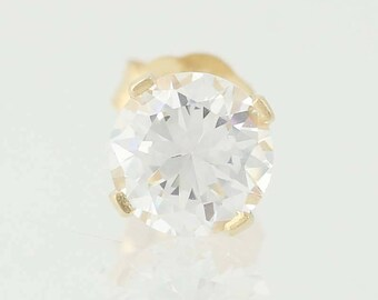 Single CZ Stud Earring - 14k Yellow Gold Round Cubic Zirconia Pierced 0.50ct Q9860