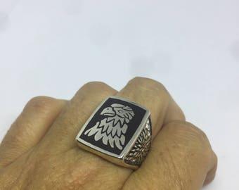 Vintage 1980's Native American Style Black inlay Southwestrn Men's Eagle Ring