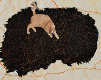 Cruelty Free, Shetland Icelandic, Cat Bed, Pet Bed, Dog Bed, Felted Fleece Wool Rug, Ethical Sheepskin, Accent Rug, Natural Decor, MultiCat