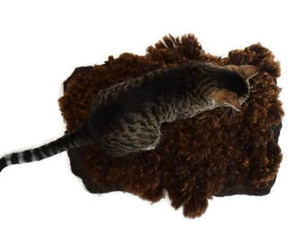 Cruelty Free, Rambouillet, Cat Bed, Pet Bed, Dog Mat, Wool Fleece, Natural Bed, Humane Sheepskin, Hand Felted, ReadyToShip, Cat Lover Gift