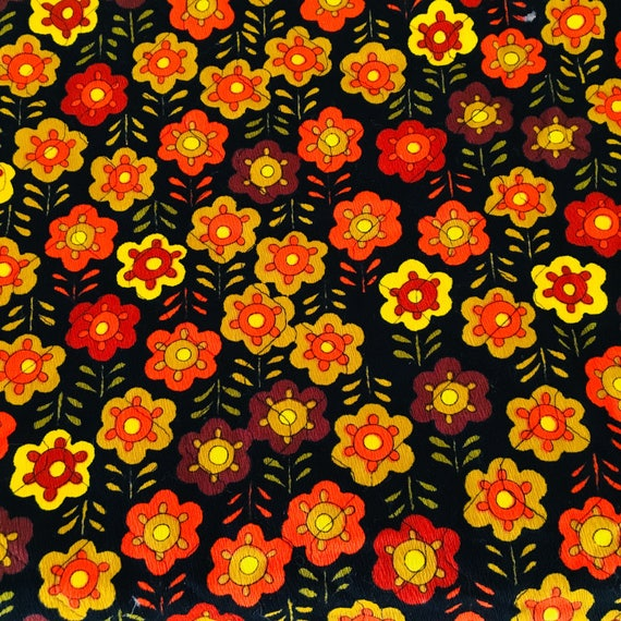 Vintage Black Orange Floral Quilted Fabric Retro Brown Yellow Flowers Mod Cotton Yardage