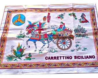Tea Towel Souvenir Carrettino Siciliano Italy Large Vintage Tea Towel