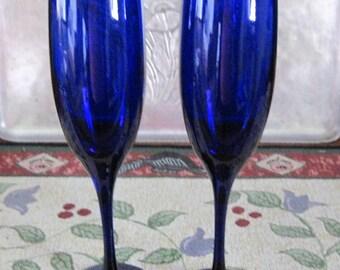 2 Vintage Libbey Rock Sharpe Cobalt Blue Glass Champagne Flutes Tulip Shape