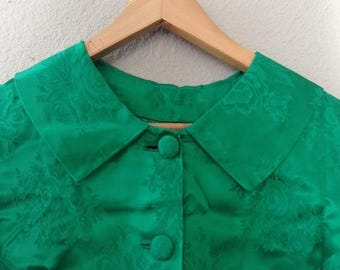 1/2 Off SALE Vintage 60s Emerald Green Jacket, 1960 Brocade Evening Jacket, Green Satin Dress Coat