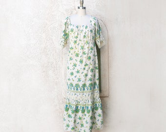 Long 60s Dress, Cotton Print Peasant Style Boho Maxi, Blue Flower Print, Country Wedding